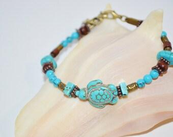 Bracelet Turquoise Turtle,  Turtle & Wood Bead Bracelet, 1 of a kind Turtle Bracelet,  Sea Turtle Bracelet, Turquoise Sea Turtle Bracelet