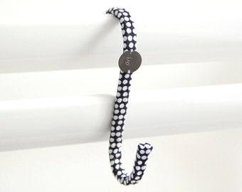 Crochet tissu Pois Noir Blanc // Patère Déco Minimal Industriel // Chambre Salle de bain Peignoir Serviettes Pyjama Bijoux // CRO33