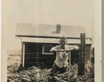 "Vintage Photo ""His Beautiful Neighbor"" Snapshot Antique Black & White Photograph Paper Found Ephemera Vernacular Interior Design Mood - 100"