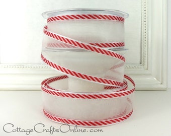 "Christmas Wired Ribbon, 1 1/2"" White Sheer with Red Diagonal Stripes - THREE YARDS - May Arts  #609 Valentine Wire Edged Ribbon"