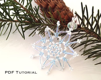 Beaded Snowflakes and Stars PDF Tutorial - DIY Ornaments, Jewelry, Package Toppers, Party Favors