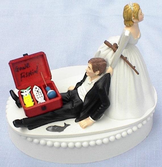 Wedding Cake Topper Gone Fishin' Fishing Pole Tackle Box