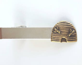 Silver Tie Clip with Gold Beehive, Tie Bar, Modern, Rustic, Beekeeper, Woodland, Nature, Groom, Best man, Wedding, Father's Day, Bee Skep