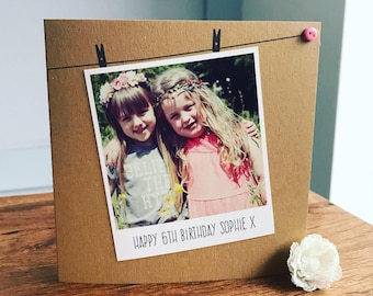 Handmade Personalised Card, Birthday, Polaroid Photograph, Recycled Kraft or Grey Card