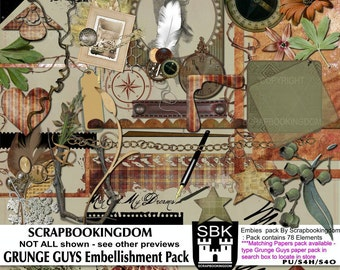 Masculine Digital Scrapbook Embellishments GRUNGE GUYS for boys or men's scrapbooking -78 elements - matching paper pack available in store