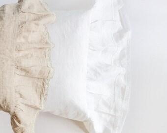 Ruffled linen pillowcase, pure linen sham, white and oatmeal linen pillow case, natural linen bedding, linen king/standard/euro pillowcase
