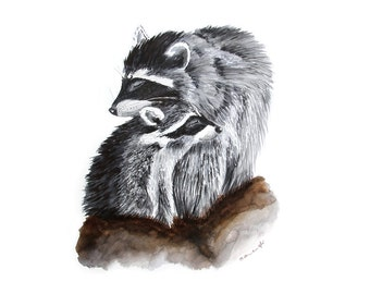 Raccoon Watercolor Art, Woodland Nursery Decor, Forest Animals, Raccoon Nursery, Nursery Art, Woodland Nursery, Nursery Watercolor, Gray