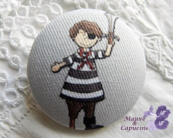 Fabric buttons,  pirate, 0.78 in / 20 mm