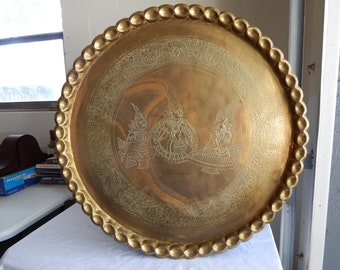 """Large RARE Antique Tibetan Nude Siam Gods & Goddess Embossed Brass Tray Scalloped Edge Wall Hanging Ottoman Table 30.5"""""""