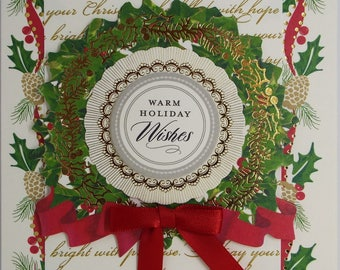 Warm Holiday Wishes Wreath Christmas Card 2017