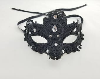 LUXURY Black Lace Mask with crystals, New Years Mask, Halloween Mask, Venetian Mask, Masquerade ball mask, 50 shades, party mask, prom mask