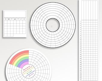 Habit Tracker's pack. Circle tracker. LGBT. mini trackers. Monthly habit tracker. 21 day tracker.