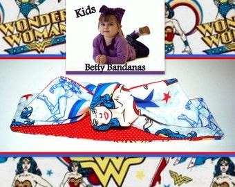 KIDS...Betty Bandana in Wonder Woman Print ....New Size & Style