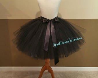 BLACK ADULT TUTU** Christmas Orders Available **/ Black party tutu/ Any color adult tutu/ Halloween tutu (Sew in lining)