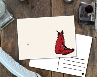 Fox - Postcard with Illustration, fox ink red dandelion