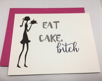 SALE / Eat Cake / Happy Birthday / Friends Birthday / Card For Her / Greeting Card / Adult Card / Blank Card