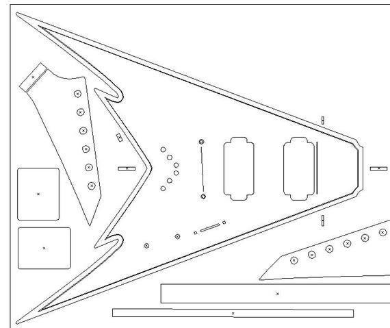 King V routing template. Heavy Metal guitar blueprint. Custom