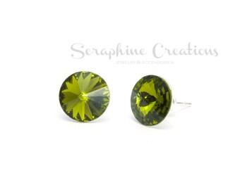 Olive Green Earrings Swarovski Rivoli Crystal Olivine Earrings Sparkly Bridal Bridesmaid Gift Bridal Bridesmaid Jewelry Dark Green K010