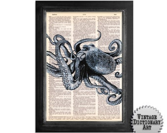 The Mighty Octopus - Print on Vintage Dictionary Paper - 8x10.5