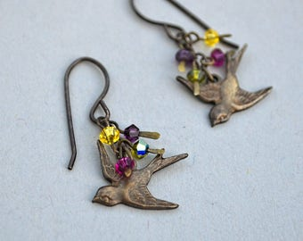 Early Migration, Earrings in Swarovski Crystal with Antiqued Brass