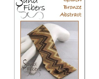 Peyote Pattern - Golden Bronze Abstract Cuff / Bracelet - A Sand Fibers For Personal/Commercial Use PDF Pattern