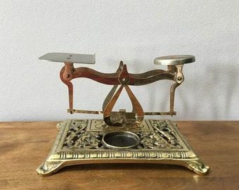 Victorian Letter Scale / Brass Desk Accessory / Postal Scale / Marked Japan / Vintage Desktop Scale