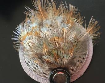 Grey, blue & copper pheasant feather fascinator