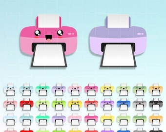 Kawaii Printer Clipart, cute Printer digital graphics clip art set for Planner stickers or any place you need a cutie. Commercial Use OK