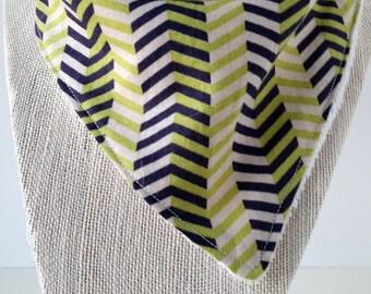 Bandana Bib - Cotton/Bamboo - Cotton/Terry cloth - Chevron Green/Navy