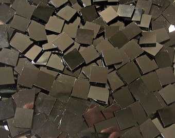 100 1/2 Inch Solid Black Stained Glass Mosaic Tiles