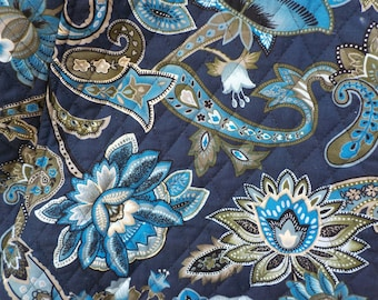 Navy Blue Quilted Puse with Flowers