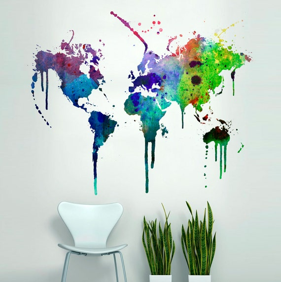 World map watercolor decal watercolor world map wall gumiabroncs Gallery