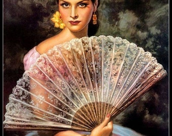 Counted Cross Stitch Patterns Needlework for embroidery-A Lady with a Big Fan