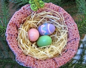 Mini Easter Basket Ornament, Easter Egg Nest, Spring Decor, Easter Tree Ornament