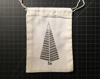 Cotton Gift Bag | Hand Printed Evergreen