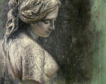 Original Oil Painting - Study of a Female Bust in Stone
