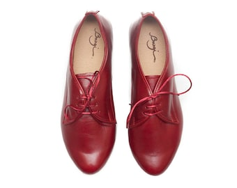 Red Leather Shoes, Red Oxford Shoes, Close Shoes, Flat Shoes, Red Shoes , Free Shipping
