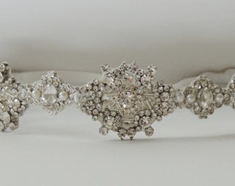Helen Wedding bridal crystal headpiece headband rhodium plated  vintage inspired
