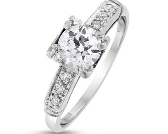 0.60 CT Vintage Natural European Cut Diamond Engagement Ring in Solid Platinum