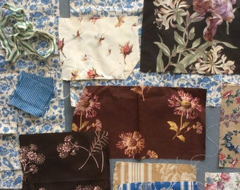 Vintage and Antique Fabric Assortment, Birds, Flowers