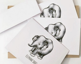 """Valentine's Card: """"Elephant Shoes"""" (I Love You) - PACK OF 3"""