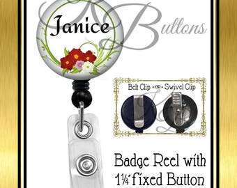 Custom Badge Reel, Personalized Flower Badge Reel, Custom Name Badge Reel, Retractable Badge Reel, Secretary Gift, Coworker Gift, BRN007