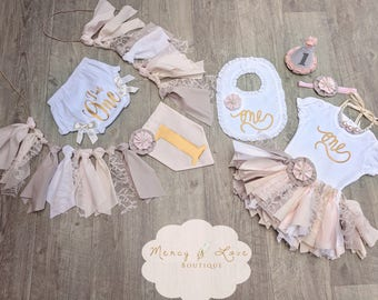 """The """"Country Chic"""" Collection. Pink,Ivory,Khaki &white,Fabric Tutu, Cake Smash outfit, First Birthday Girl, shabby chic, High Chair Banner"""
