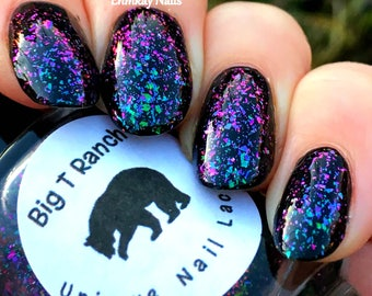 Multichrome Flakie Topcoat - Icelandic Glacier - Multi-Color Shifting Polish:Custom-Blended Glitter Nail Polish/Indie Lacquer