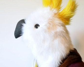 Sulphur Crested Cockatoo Scoodie. Spirit Hood. Parrot Costume. Bird Hat.