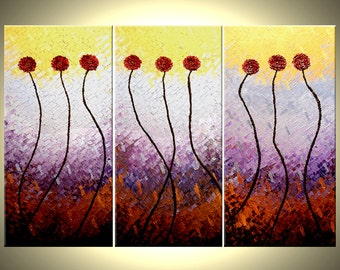 Huge Gold Original Red FLOWERS Metallic Roses Poppies Abstract Art Large Textured Knife PAINTING by Lafferty - 48 X 72 - Free Shipping