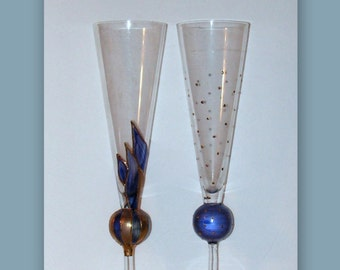 Two Vintage Crystal Champagne Flutes - Art Glass - Blue Gold Enamel Hand Painted - Ball Wine Stems