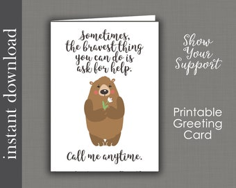 Printable Card, support card, sympathy card, cancer card, friend card, get well card, encouragement card, printable get well, card download