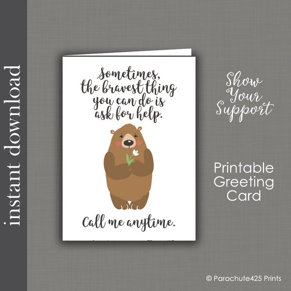 Printable card support card sympathy card cancer card m4hsunfo