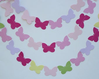 Butterfly Garland- 5 Foot Long PICK YOUR COLORS, birthday party decoration, baby shower decoration, girl birthday-